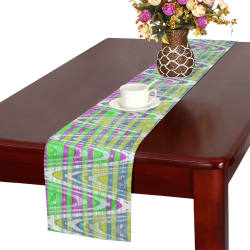 Colorful Pastel Zigzag Waves Pattern Table Runner 14x72 inch