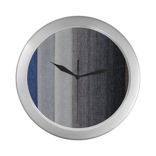 Silver Frame Wall Clock Classic Graphic Fabric Style Modern Art Wall Clock Silver Color Wall Clock