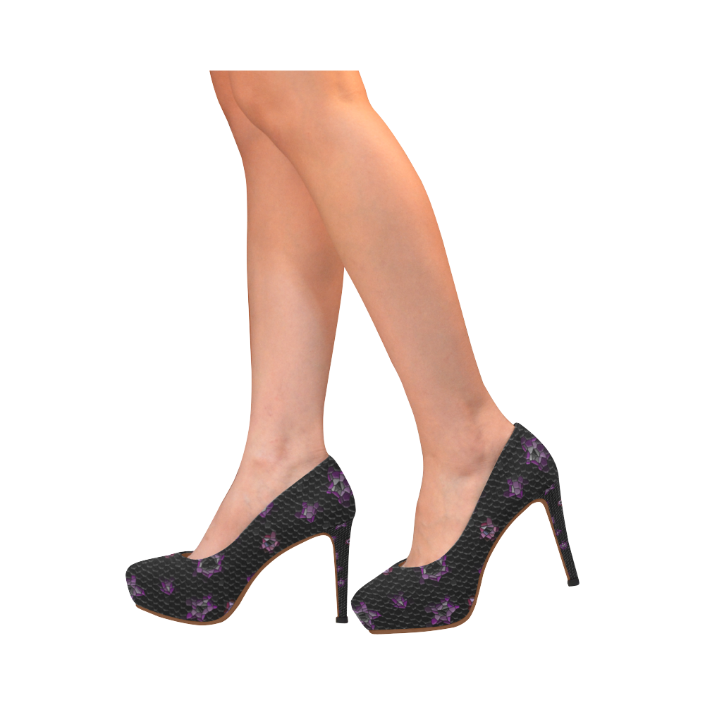 Mosaic night sky design tall shoes Women's High Heels (Model 044)