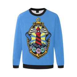Lighthouse Modern Blue Men's Oversized Fleece Crew Sweatshirt/Large Size(Model H18)
