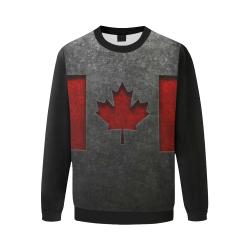 Canadian Flag Stone Texture Men's Oversized Fleece Crew Sweatshirt/Large Size(Model H18)