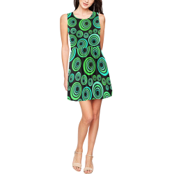 Crazy Fun Neon Blue & Green retro pattern Thea Sleeveless Skater Dress(Model D19)