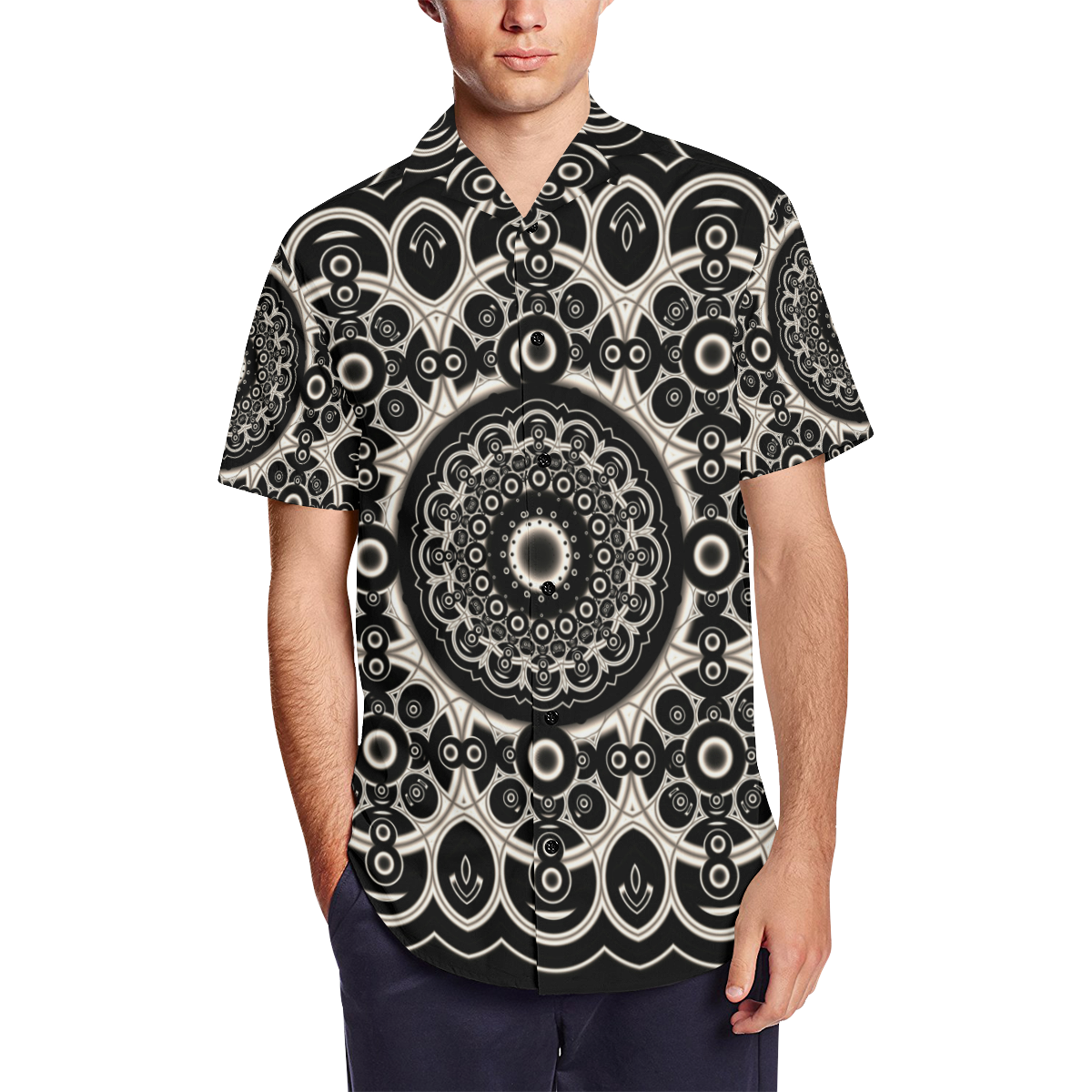 Black Lace Men's Short Sleeve Shirt with Lapel Collar (Model T54)