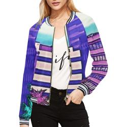 VaporScape All Over Print Bomber Jacket for Women (Model H21)