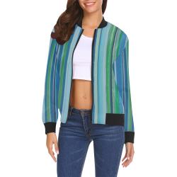 painted stripe All Over Print Bomber Jacket for Women (Model H19)