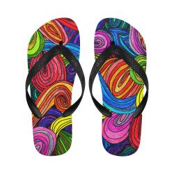 Psychedelic Lines Flip Flops for Men/Women (Model 040)