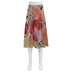 Watercolor Flowers2 Mnemosyne Women's Crepe Skirt (Model D16)