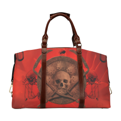 Skulls on red vintage background Classic Travel Bag (Model 1643) Remake