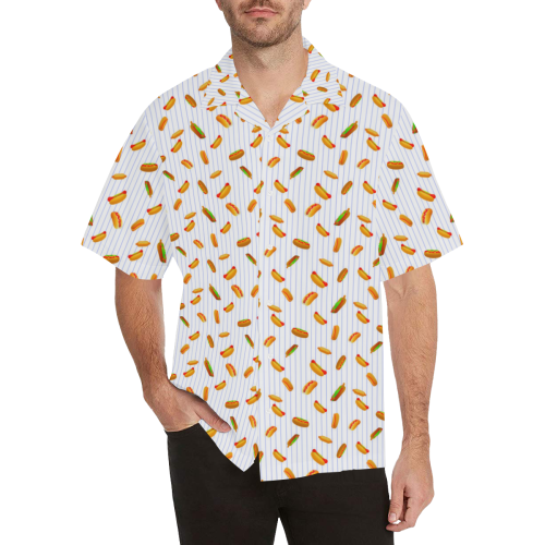 Hot Dog Pattern with Pinstripes Hawaiian Shirt (Model T58)