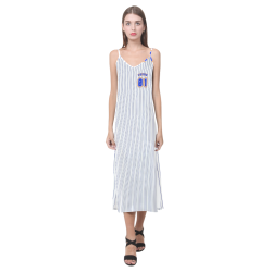 No. 1 Vegan V-Neck Open Fork Long Dress(Model D18)