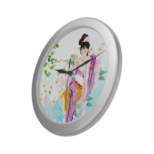 Japanese_Girl-springtime.wallclock Silver Color Wall Clock
