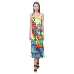 :Rainbow: FAERY ART V-Neck Open Fork Long Dress(Model D18)