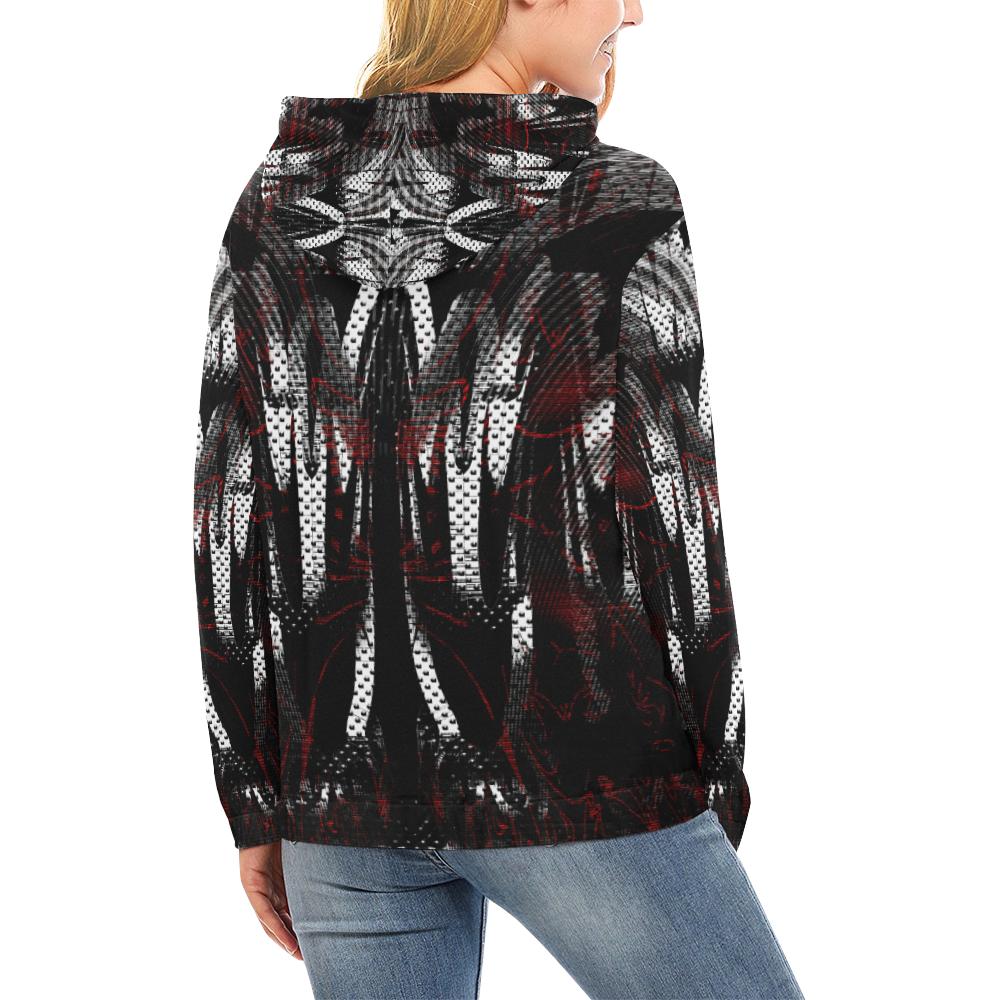xxsml Alien Pilot Crew All Over Print Hoodie for Women (USA Size) (Model H13)