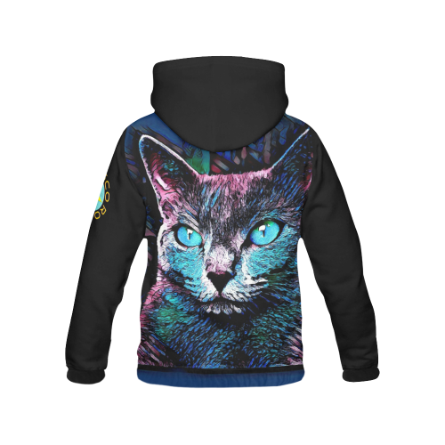 FUNNY CAT MULTICOLOR CRASSCO All Over Print Hoodie for Women (USA Size) (Model H13)