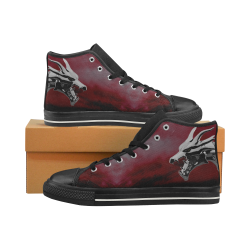 Steel Dragons V1.0 Red Women's Classic High Top Canvas Shoes (Model 017)