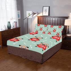 Pug Love Valentine's Day Bedding Set 3-Piece Bedding Set