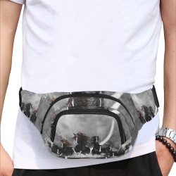 Awesome running black horses Fanny Pack/Small (Model 1677)