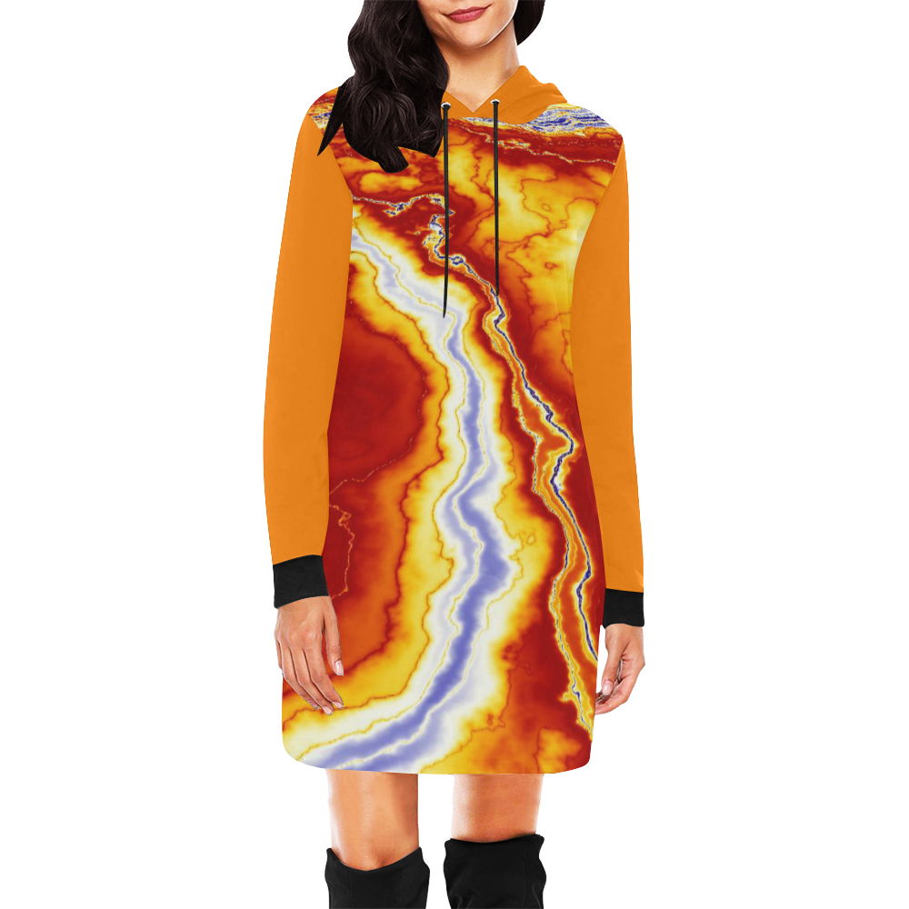 Marble Geode All Over Print Hoodie Mini Dress (Model H27)