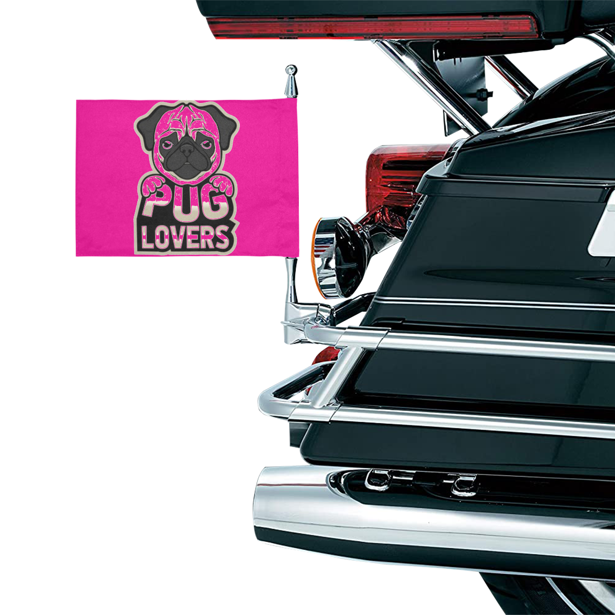 PUG LOVERS Motorcycle Flag (Twin Sides)