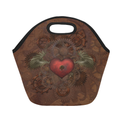 Awesome Steampunk Heart With Wings Neoprene Lunch Bag/Small (Model 1669)