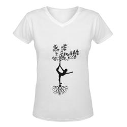 tree t-shirt Women's Deep V-neck T-shirt (Model T19)
