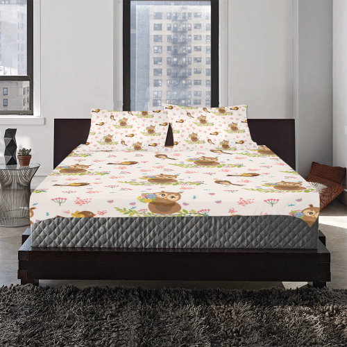 Owls And Song Birds Pattern 3-Piece Bedding Set