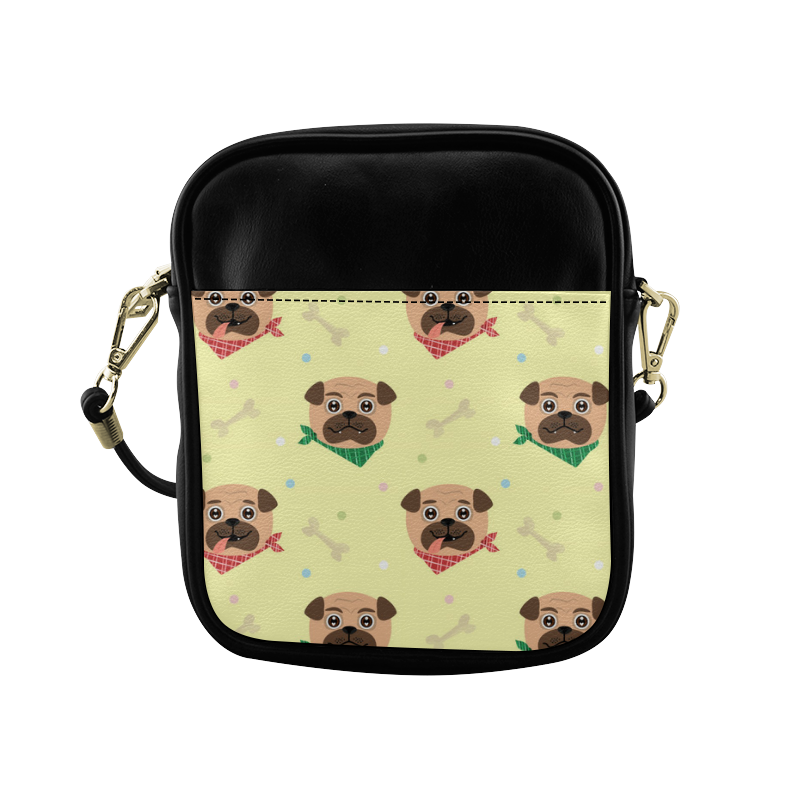Pug Puppies with Bandanas Sling Bag (Model 1627)