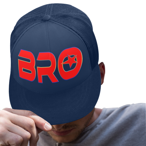 BRO RED BASECAP BLUE Trucker Hat H (Front Panel Customization)