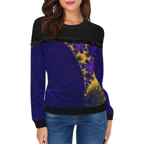 Twilight Jungle Leaves Women's Fringe Detail Sweatshirt (Model H28)