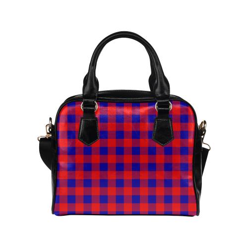 Red and Blue Checkered Shoulder Handbag (Model 1634)
