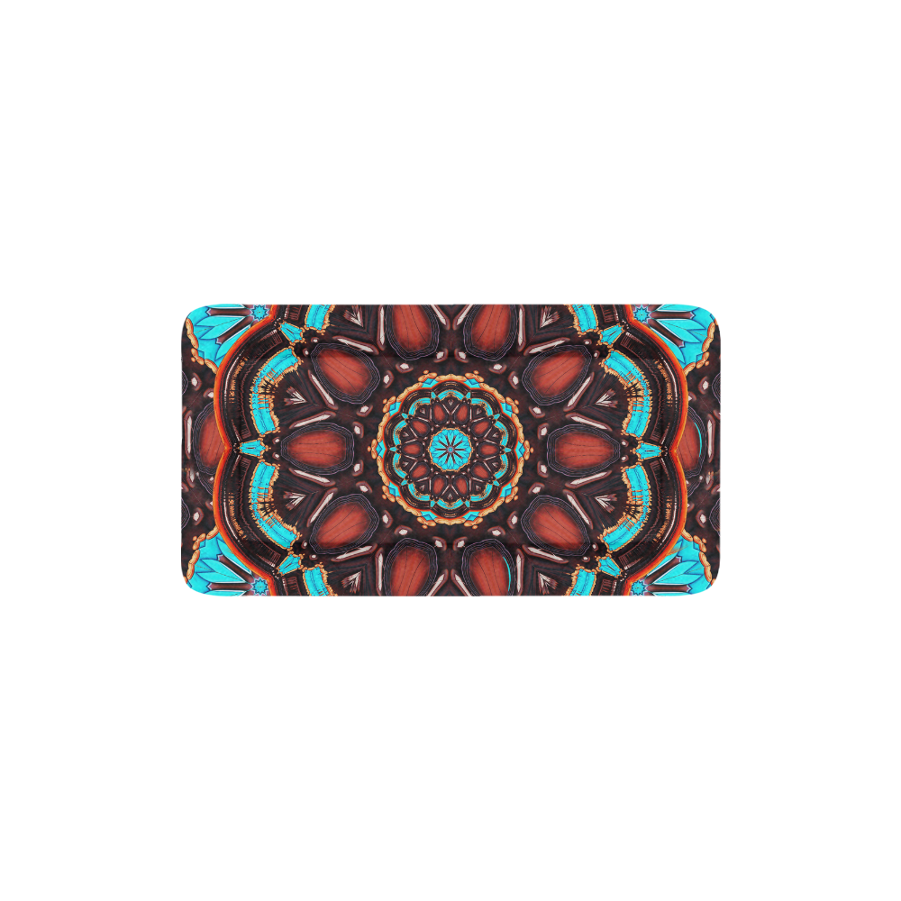 """K172 Wood and Turquoise Abstract Pet Bed 24""""x13"""""""