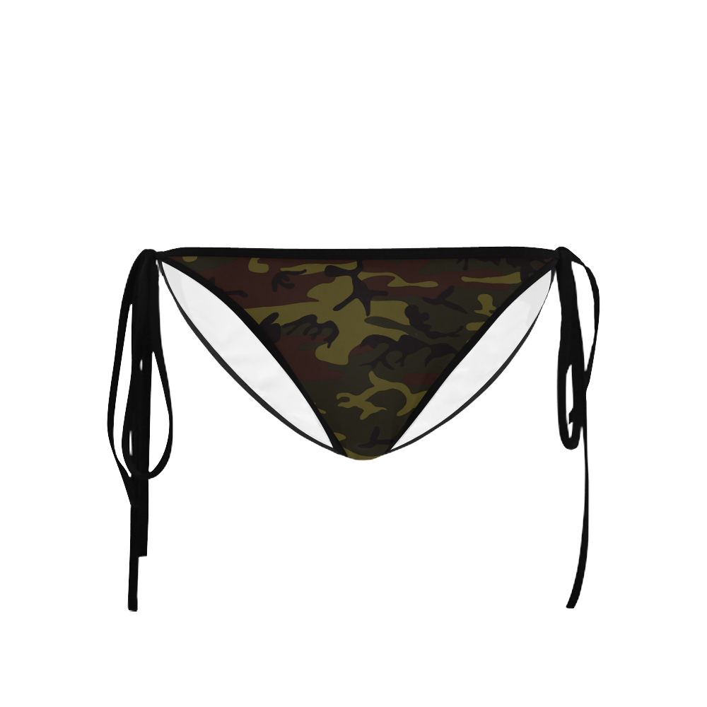 Camo Green Brown Custom Bikini Swimsuit Bottom
