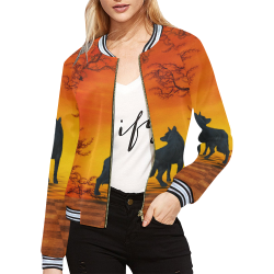 Wonderful black wolf in the night All Over Print Bomber Jacket for Women (Model H21)