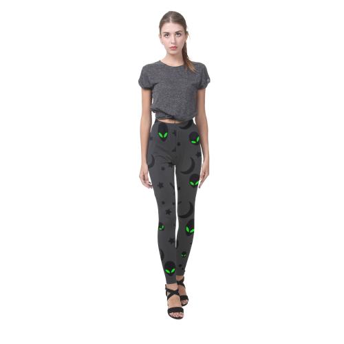 Alien Flying Saucers Stars Pattern on Charcoal Cassandra Women's Leggings (Model L01)