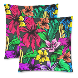 """hibiscus Custom Zippered Pillow Cases 18""""x 18"""" (Twin Sides) (Set of 2)"""