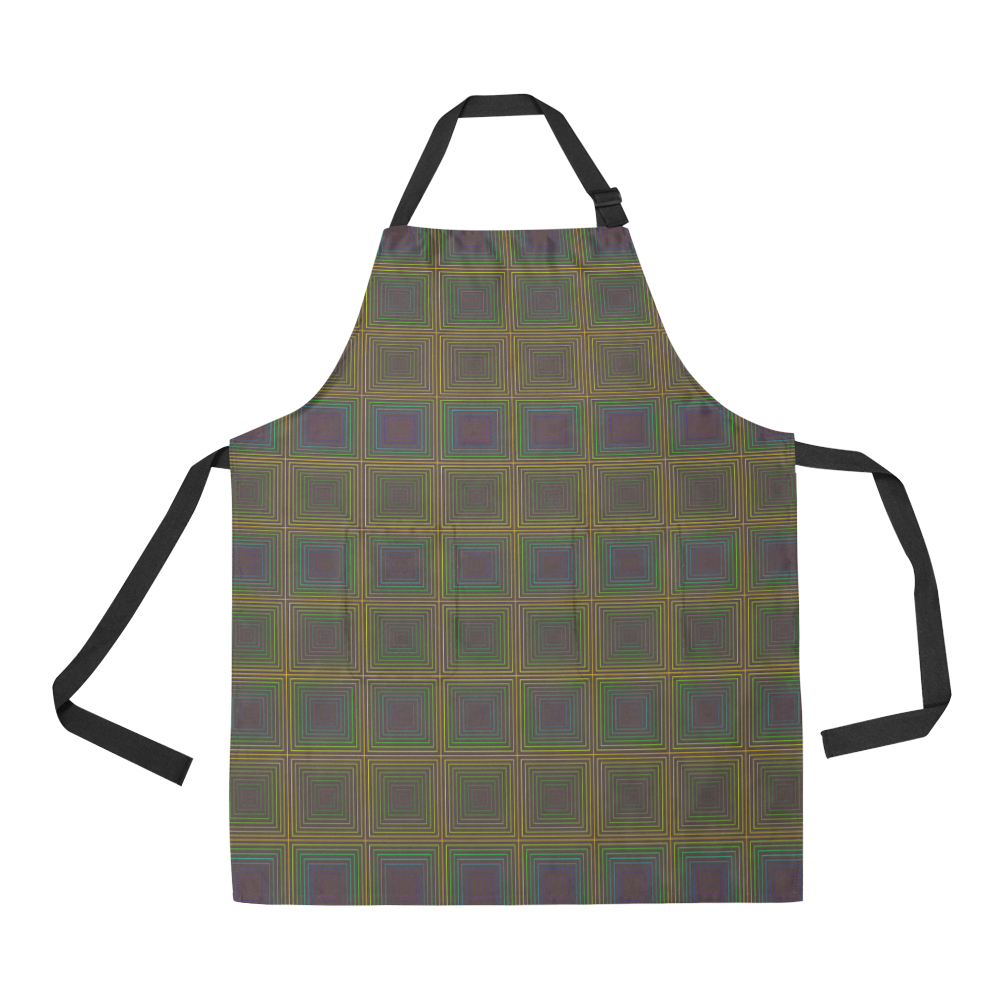 Pale purple golden multicolored multiple squares All Over Print Apron