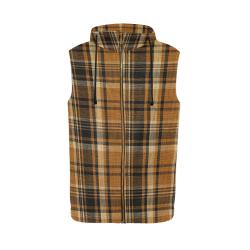 TARTAN DESIGN All Over Print Sleeveless Zip Up Hoodie for Men (Model H16)