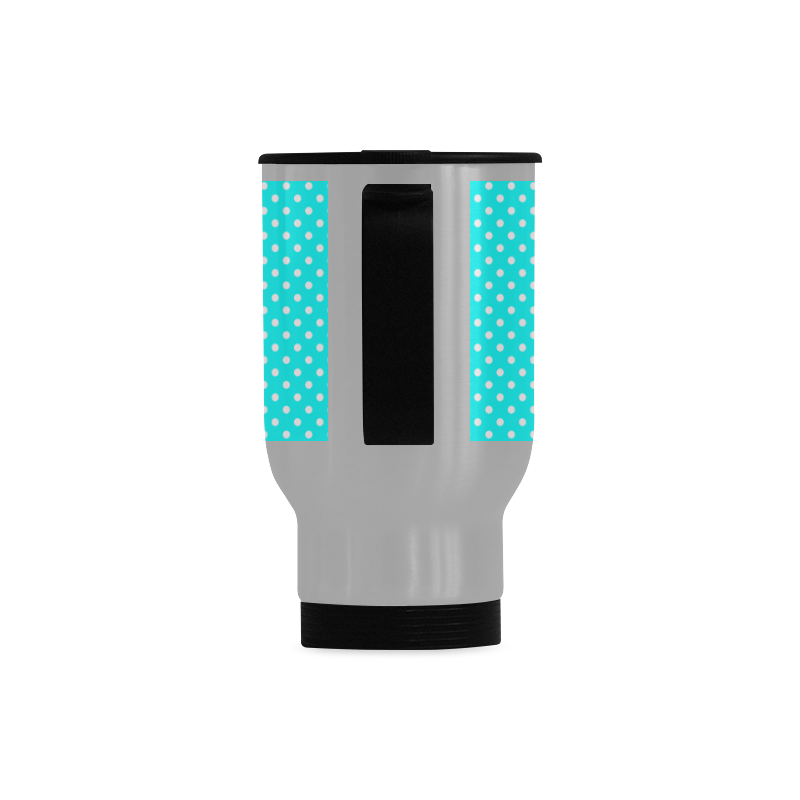 Baby blue polka dots Travel Mug (Silver) (14 Oz)