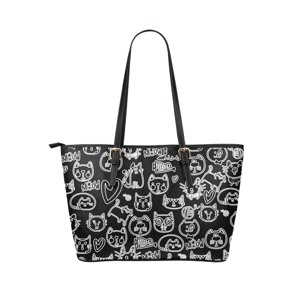 Meow Cats Leather Tote Bag/Large (Model 1651)
