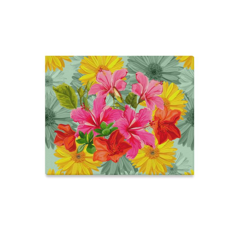 """Gorgeous Vintage Tropical Floral Canvas Print 20""""x16"""""""