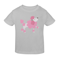 Pretty Pink Poodle Grey Sunny Youth T-shirt (Model T04)