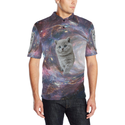 Galaxy Cat Men's All Over Print Polo Shirt (Model T55)
