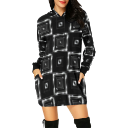 LIT Checkered (Black/White) All Over Print Hoodie Mini Dress (Model H27)