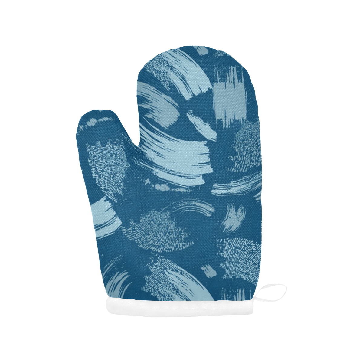 Denim Blue Abstract Brushstroke Oven Mitt (Two Pieces)