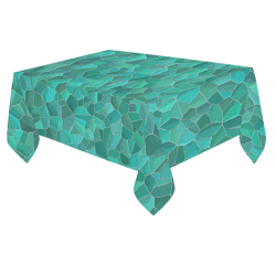 "Turquoise Cotton Linen Tablecloth 60""x 84"""