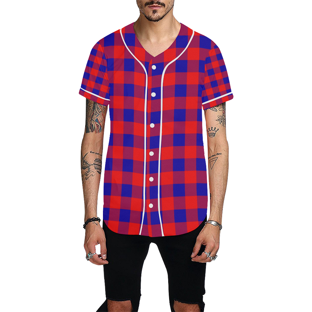 Red and Blue Checkered Pattern All Over Print Baseball Jersey for Men (Model T50)