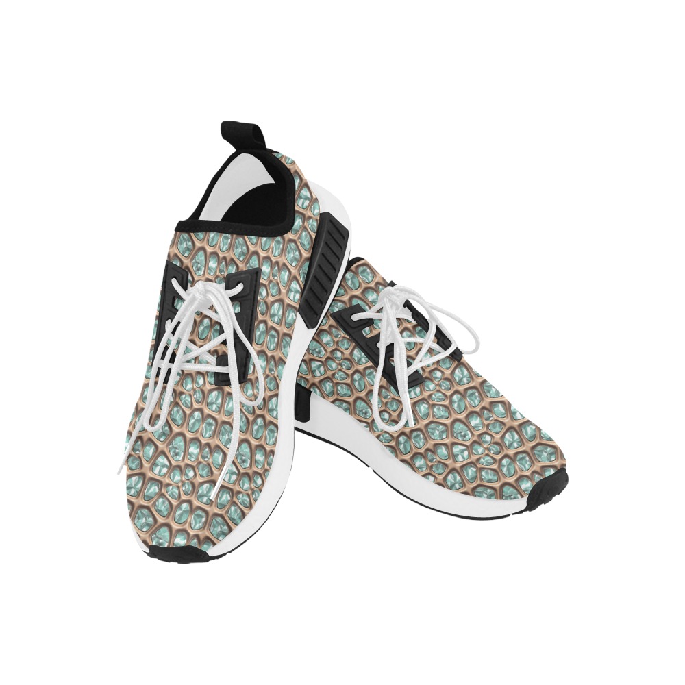 Green crystals Women's Draco Running Shoes (Model 025)