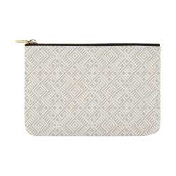 White 3D Geometric Pattern Carry-All Pouch 12.5''x8.5''