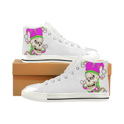 Jester Skull White Women's Classic High Top Canvas Shoes (Model 017)