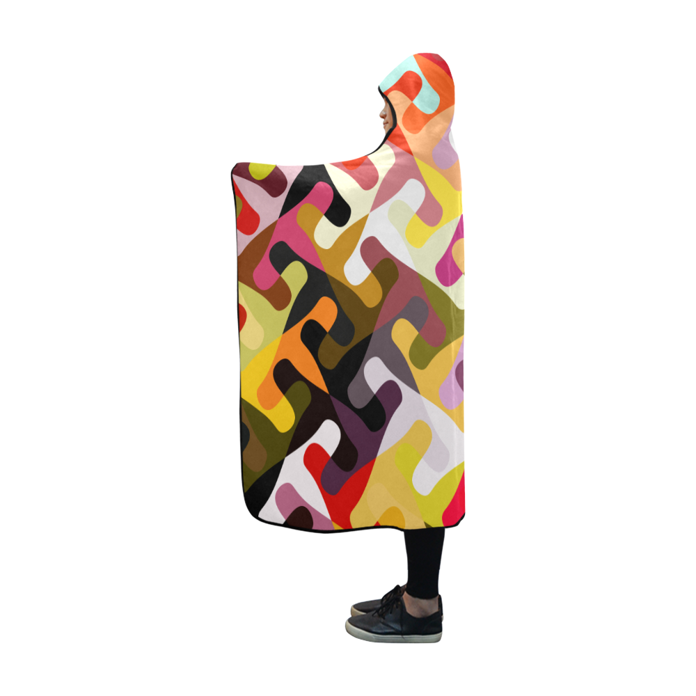Colorful shapes Hooded Blanket 60''x50''